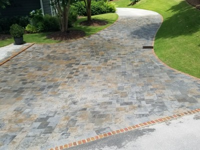 Travertine Driveway and Sidewalk installed